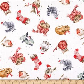 Maywood Studios Hanah Dale Wrendale Designs Fabric - Warm Wishes - Tossed Animals
