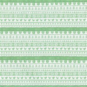 Maywood Studios Hanah Dale Wrendale Designs Fabric - Warm Wishes - Sweater Stripe Green
