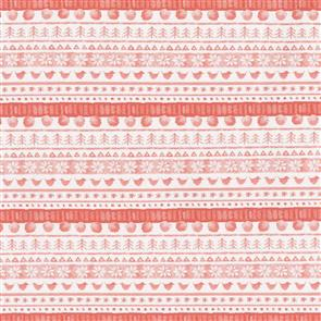Maywood Studios Hanah Dale Wrendale Designs Fabric - Warm Wishes - Sweater Stripe Red