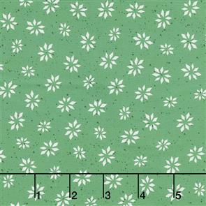 Maywood Studios Hanah Dale Wrendale Designs Fabric - Warm Wishes - Snowflake Star Green
