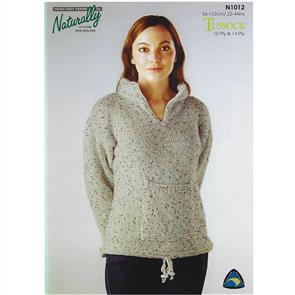 Naturally N1012 Sweater with Pocket in 10 & 14 ply