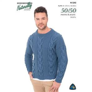 Naturally N1243 Cabled Sweater