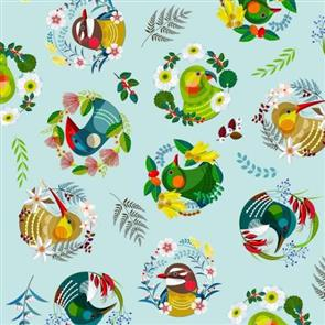 Nutex  Fabrics - Feathered Friends - Allover Blue