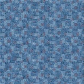 Northcott  Studio Fabric - Paris... Always a Good Idea! Airmail Stamps Blue
