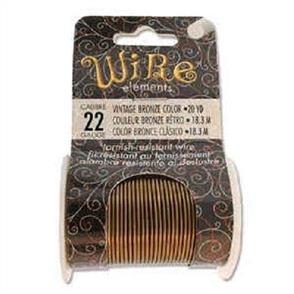 Beadsmith  22 Gauge Wire Elements - Vintage Bronze Color - 20yd