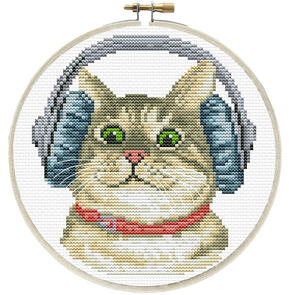 Needle Art World  No-Count Cross Stitch Kit - DJ Kitty