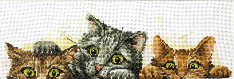 Needle Art World  No-Count Cross Stitch Kit - Curious Kittens