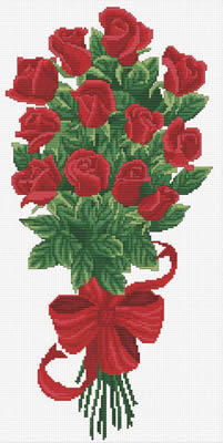 Needle Art World  No-Count Cross Stitch Kit - Boquet of Red Rose Buds