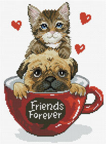 Needle Art World  No-Count Cross Stitch Kit - Friends Forever