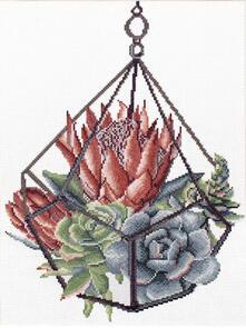 Needle Art World  No-Count Cross Stitch Kit - Succulent Garden 1