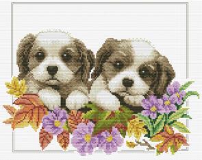 Needle Art World  No-Count Cross Stitch Kit - Peeking Pups