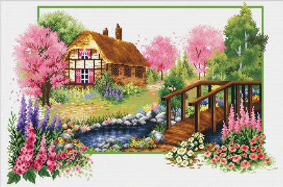 Needle Art World  No-Count Cross Stitch Kit - Spring Cottage