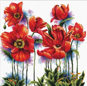 Needle Art World  No-Count Cross Stitch Kit - Lovely Poppies