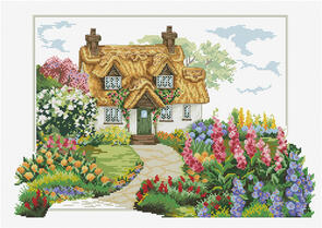 Needle Art World  No-Count Cross Stitch Kit - Foxgloves Cottage
