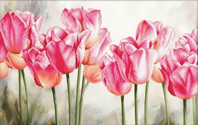 Needle Art World  No-Count Cross Stitch Kit - Pink Tulips