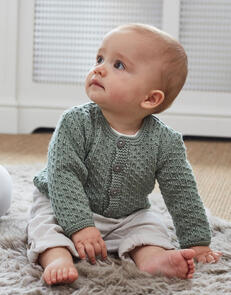 Sirdar Baby Round Neck Cardigan in Snuggly Cashmere Merino Knitting Pattern