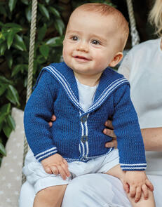 Sirdar Baby Sailor Cardigan in Snuggly Cashmere Merino Knitting Pattern