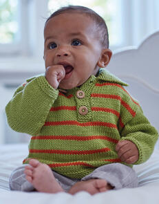 Sirdar Baby Polo Jumper in Snuggly Cashmere Merino Knitting Pattern