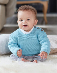 Sirdar Baby Plain Jumper in Snuggly Cashmere Merino Knitting Pattern