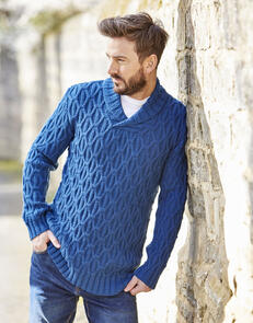 Sirdar  Man's Shawl Collar Sweater in  Country Classic DK Pattern