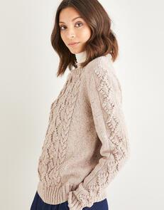 Sirdar  Women's Crew Neck Cable Sweater in  Haworth Tweed 10146
