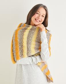Sirdar  Crescent Lace Striped Shawl in  Shawlie 10219