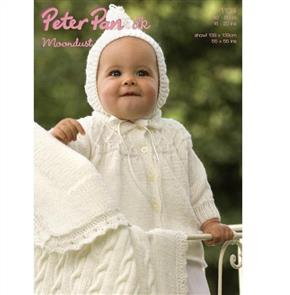 Peter Pan  P1104 Matinee coat, Hood and Cable Blanket