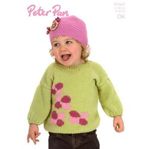 Peter Pan  Pattern P1147 Flower Sweater and Hat