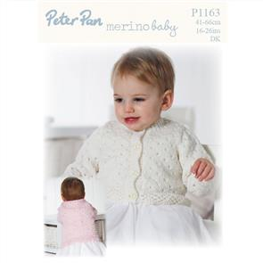 Peter Pan P1163 - Lacy Round and V Neck Cardigan - Knitting Pattern