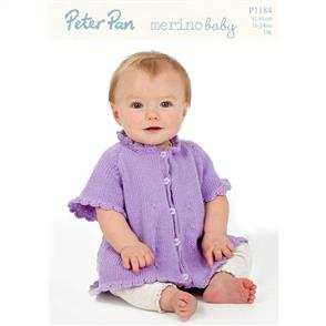 Peter Pan  P1184 Flared Cardigan with Crochet Edging