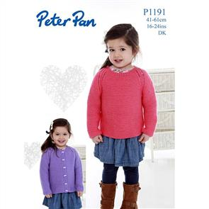 Peter Pan 1191 Easy Knit Sweater and Cardigan