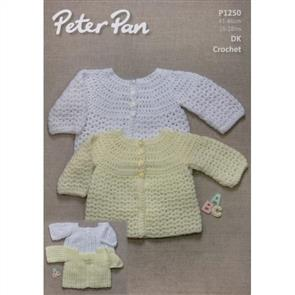Peter Pan  Pattern P1250 Crochet Round and Square Neck Cardigans