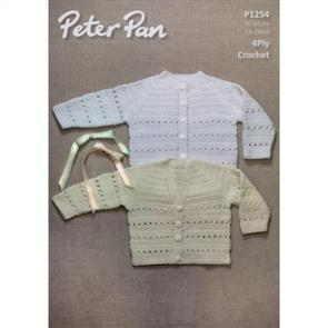 Peter Pan  Pattern P1254 Crochet Round and V-Neck Cardigans