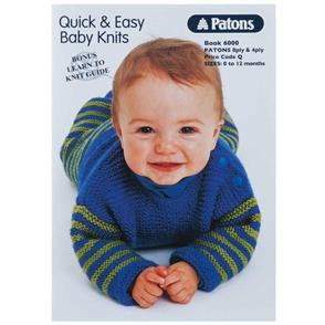 Patons Book 6000 - Baby Easy Knits 4 & 8ply - 8 Designs
