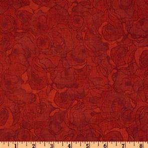 P & B Textiles  P&B Textiles - Gallery Fiori - Tonal Rosette Red