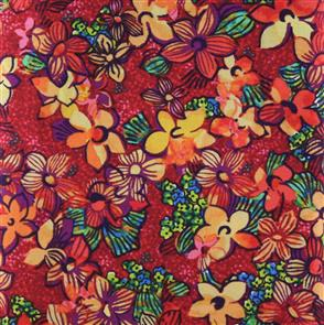 P & B Textiles  - Midnight Gardens Floral Red