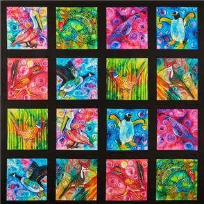 """P & B Textiles  - Wild Birds 36"""" Panel"""