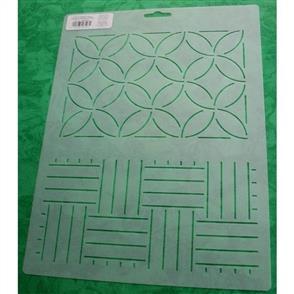 "Olympus  Sashiko Paving Stones/Interlocking Circles Stencil Size: 9"" x 12"""