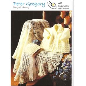 Peter Gregory  Pattern 665 - Baby's Coat, Bonnet and Shawl