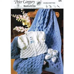 Peter Gregory  Pattern 675 - Baby's Shawl, Coat and Bootees
