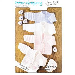 Peter Gregory  Pattern 7138 - Cardigans and Bonnet