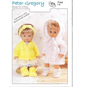 Peter Gregory  Pattern 7164 - Doll's Cardigan and Matinee Sets