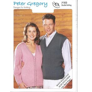 Peter Gregory  Pattern 7183 - Lady's Cardigan, Man's Slipover & Waistcoat