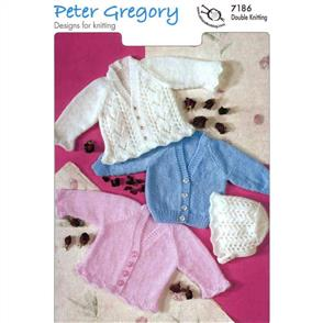 Peter Gregory  Pattern 7186 - Cardigans and Bonnet