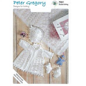 Peter Gregory  Pattern 7201 - Matinee Jacket, Bonnet, Bootees and Shawl