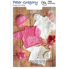 Peter Gregory  Pattern 7203 - Cardigans, Hat and Slippers