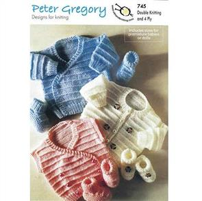 Peter Gregory  Pattern 745 - Cardigan, Waistcoats and Bootees