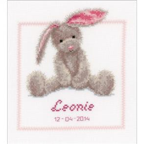 """Vervaco  Counted Cross Stitch Kit 7.5""""X8.5"""" - Cute Bunny Record"""