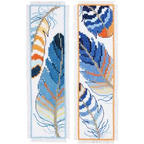 Vervaco  Cross Stitch Kit - Blue Feathers Bookmarks