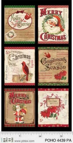 P & B Textiles Postcard Holiday Panel - 4439PA